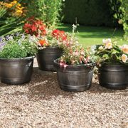 Pack of 4 Wood Effect Barrel Planters