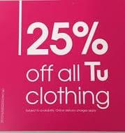 25% off EVERYTHING at Tu Clothing, Sainsbury's
