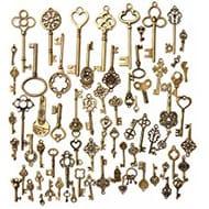 Pack of 70 Antique Bronze Mixed Skeleton Keys