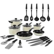 Morphy Richards 6-Piece Non-Stick Pan Set with 5 Knives and 9 Tools - Cream