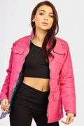 Quilted Jacket with Belt from Fuschia