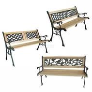 WestWood 3 Seater Outdoor Wooden Garden Bench Cast Iron Legs