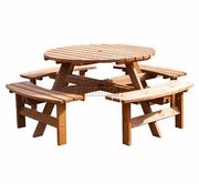 WestWood 8 Seater Wooden Pub Bench round Picnic Table