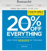 20% of Everything-Hurry! Limited Time Only