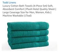 60% off Luxury Cotton Bath Towels (4-Piece Set) Soft,