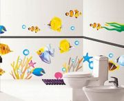DecoBay Fish Bathroom Stickers/Childrens Room Stickers - Removable Wall Stickers