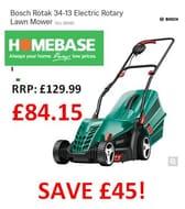 BARGAIN! Bosch Rotak 34 Electric Rotary Lawn Mower £84.15 at Homebase