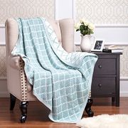 BEDSURE More than Comfort Knitted Throw Blanket Ice Green
