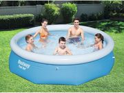 Bestway 10 Ft X 30 Inch Fast Set round Inflatable Family Swimming Pool - Blue