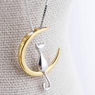 Elistelle Gold Mood Fashion Fine 925 Silver Cats Moon Pendant Necklace