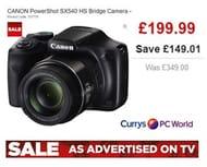 CURRYS SALE DEAL! save £149! CANON PowerShot SX540 HS Bridge Camera