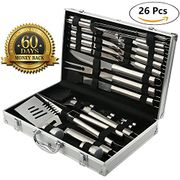 BBQ Grill Tools - Stainless Steel Utensils with Aluminium Case - 26 Piece