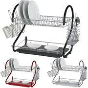 2 Tier Chrome Plate Dish Cutlery Cup Drainer