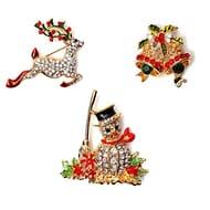 3 X 3D Crystal Diamante Pin Brooch Christmas Badges - Snowman, Reindeer & Bells