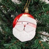 6 X Glitter 3D Shaped Santa Claus Baubles
