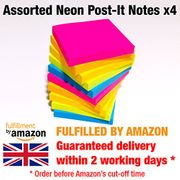6 Pads NEON Coloured Removable Sticky Post It Notes
