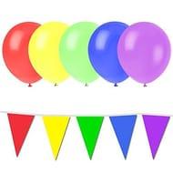 20m Rainbow Bunting & 25 Multicolour Balloons