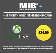 12 Months Xbox Live Gold + Men in Black 3 HD