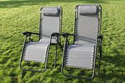 2 Garden Sun Lounger Relaxer Recliner Chairs - in Grey Weatherproof Textoline