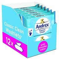 Andrex Washlets Flushable Toilet Tissue Wipes - 12 Pack (Total 480 Wipes)