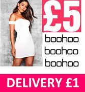 £5 at Boohoo! Off the Shoulder Bodycon Mini. £1 Delivery!
