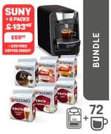 TASSIMO SUNY Machine + 6 Packs +£20 Voucher
