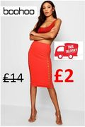 £2 at Boohoo + FREE DELIVERY - Lattice Front Crepe Midi Skirt (Was £14)