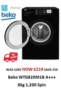 Cheap Price 8kg 1200 Spin BEKO Washing Machine - £50 off & FREE DELIVERY