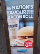 Greggs Breakfast Deal Bacon Roll and Hot Drink