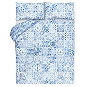 Blue Moroccan Tile Duvet Cover & Pillowcase Set Free C&C (Single)