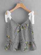 SHEIN Sash Tie Shoulder Blossom Embroidered Ruffle Gingham Top