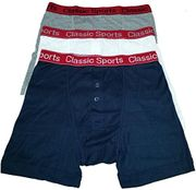 3 Mens Classic Sports RedBand Button Fly Boxer Shorts FREE DELIVERY
