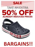 CROCS. Even More Off! Extra 50% off Already Reduced Prices! GRAB a BARGAIN!