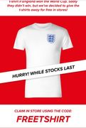 Free England T-Shirt INSTORE at Sports Direct