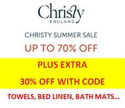 Double Discount on CHRISTY TOWELS, BEDDING ETC