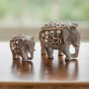 Hand Carved Soapstone Elephant - Large