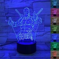 3D Optical Illusion Lamp, 3D Led Effect DEADPOOL Night Light