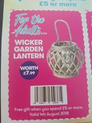Free Wicker Garden Lantern with Purchases Over £5 Instore