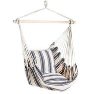 VonHaus Hanging Chair 100% Cotton Garden Outdoor Swinging Hammock Cushioned Seat