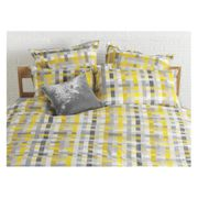 Grey and Yellow Patterned Jacquard Kingsize Duvet Cover