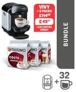 TASSIMO Black VIVY 2 Machine + 3 Packs Coffee + £2 X £10 Vouchers