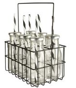 Clas Ohlson 6 X Glass Bottles with Straws in Metal Basket