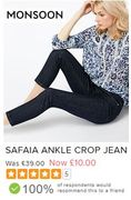 BARGAIN ANKLE CROP JEANS at MONSOON Was £39 Now £10 (8,10,12,18,22)