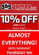 10% off ALMOST EVERYTHING at 365Games! HURRY, OFFER ENDS THURSDAY!