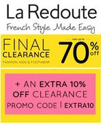 70% off + EXTRA 10% OFF. FINAL CLEARANCE at La Redoute! Fashion, Shoes, Kids
