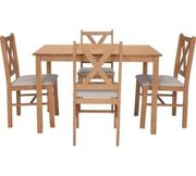 Argos Home Ava Solid Oak Dining Table & 4 Chairs Cream Only £82.99