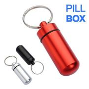 Aluminum Pill Box/Container Keychain