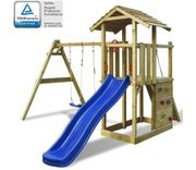 vidaXL Wooden Playset with Ladder, Slide and Swings