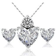 Elegant Women Crystal Set of Crystal Pendant Necklace+Earrings by Hosaire