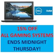 15% off ALL DELL GAMING SYSTEMS with Code at DELL OUTLET until THURSDAY